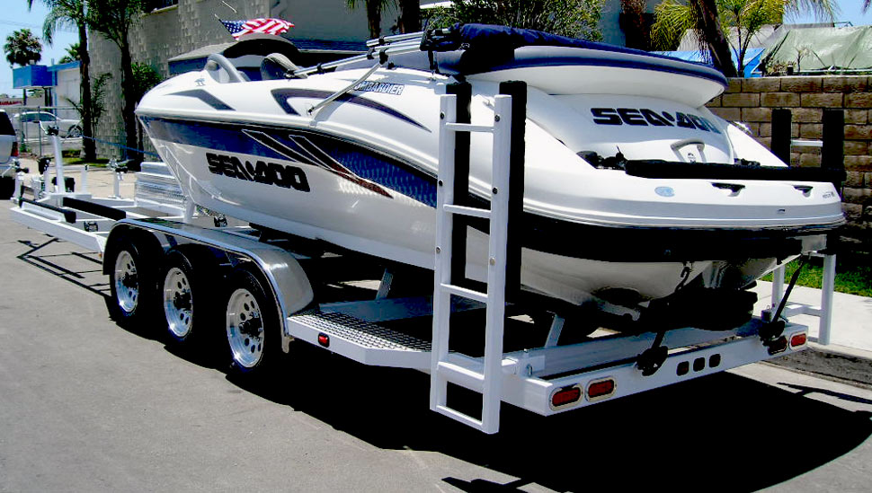 Boat & Jet Ski Combination Trailer, Custom Wheels